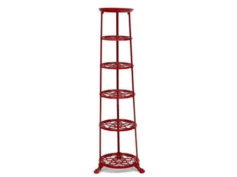 6 tier red pan stand | ornate plant tower | pot stand