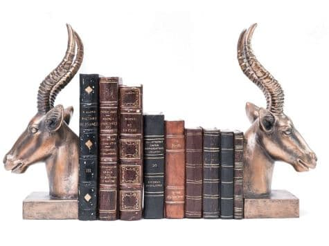 copper antelope bookends | antelope bookends