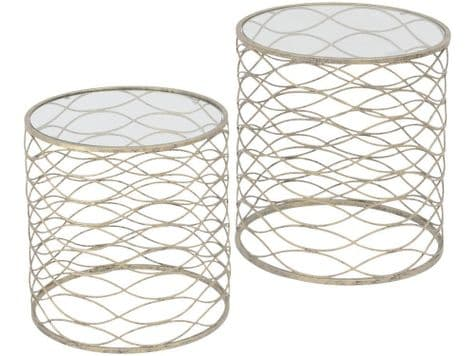 metal ribbon style round tables | nesting side tables