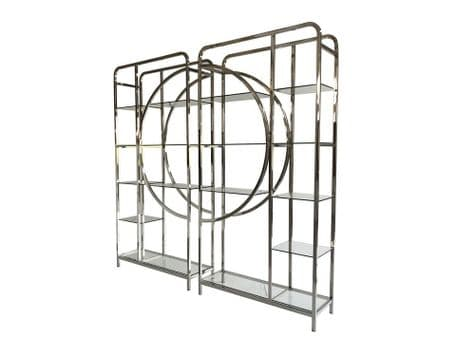 semi-circle metal and glass shelving units | stainless steel and glass display shelf | Libra Decadence Gatsby
