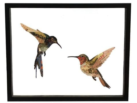 hummingbirds collage art | abstract birds picture | Libra