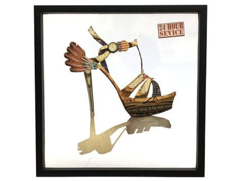 abstract collage of a shoe   high heeled shoe retro print   Libra