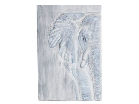 elephant relief wall plaque | grey elephant wall hanging