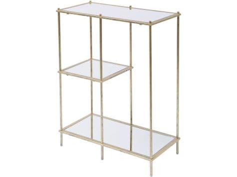 gold display unit | gold and glass shelving unit