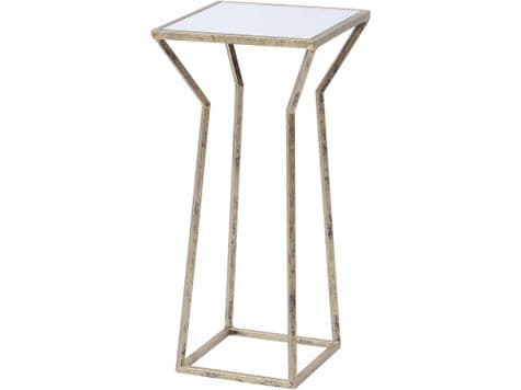 antique gold side table | gold metal and mirror top table | Mylas Side Table
