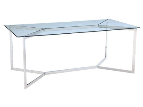 stainless steel and glass dining table | minimal metal dining table | Libra Linton Steel And Glass Dining Table