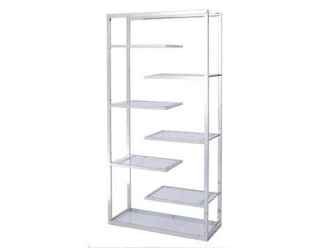 modern metal and glass display unit | steel and glass stepped shelf unit | Libra Linton Steel And Glass Display Unit