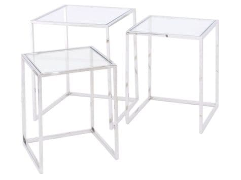 stainless steel and glass nesting tables | nest of glass tables | Libra Linton Steel And Glass Nesting Tables