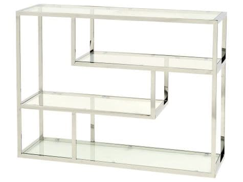 glass and stainless steel shelving unit | modern metal etagere | Libra Linton
