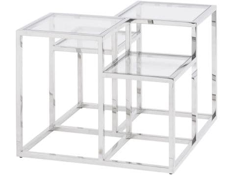 silver and glass side table | steel side table | Gatsby side table