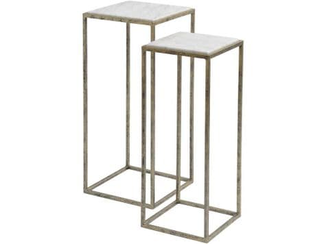 grey marble side tables | marble and iron side tables | Libra Mylas Marble Set Of 2 Side Tables