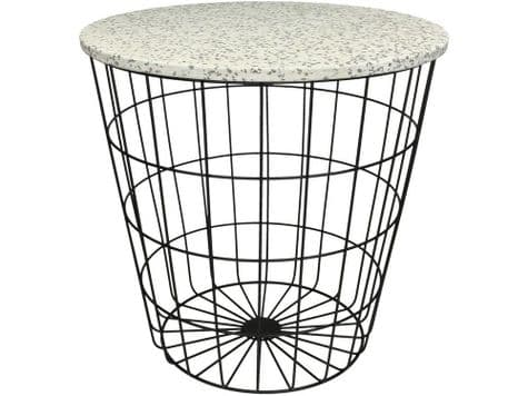 white marble top side table | polished stone metal basket table | Libra Terazzo