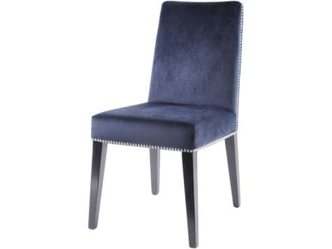 navy blue dining chair | dark blue dining chair with rivets