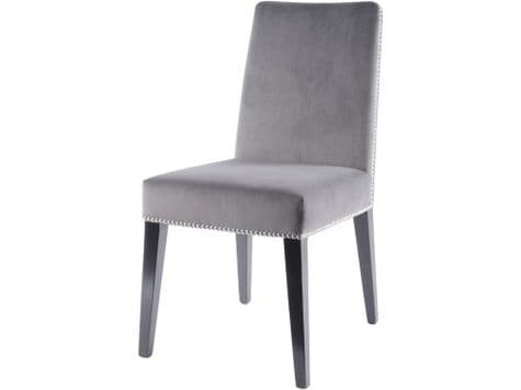 grey dining chair with rivets   grey upholstered dining chair