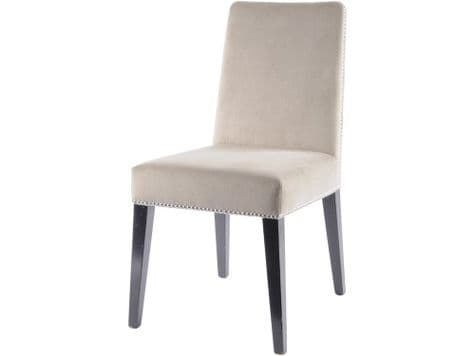 cream riveted dining chair | taupe upholstered dining chair
