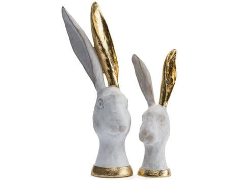 white hare head ornaments | gold hare figures