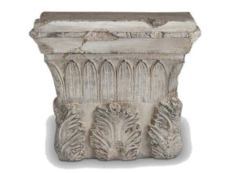 carved stone plinth wall art | salvaged stone column shelf