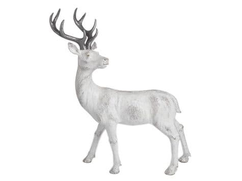 white stag with silver antlers | large whitewashed stag ornament