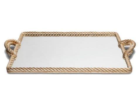 huge mirrored rope edge tray | mirrored tray with gold rope border