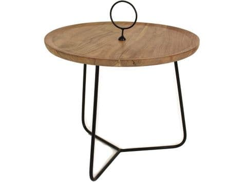 round acacia table with handle | wooden table with hoop | Libra