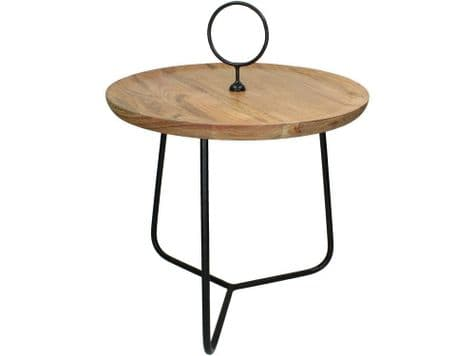 wooden table with hoop | round acacia table with handle | Libra Acacia Wood