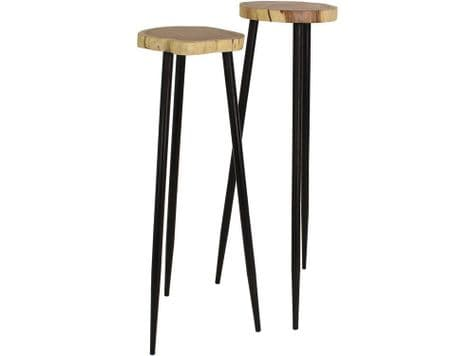 tall acacia wood side tables | wood top tables on pin legs | Libra