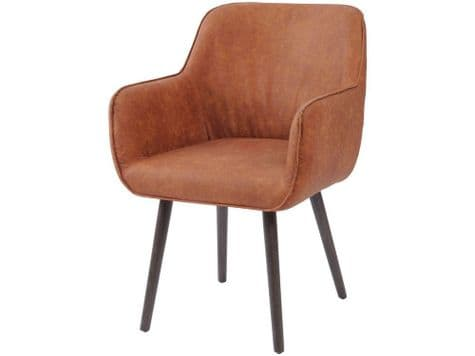 tan faux leather dining chair | russet leather bucket chair | Libra