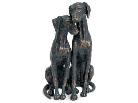 bronze dogs sculpture   pair of dogs ornament