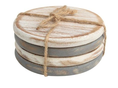 whitewashed wood drinks coasters | shabby chic set of coasters | T&G