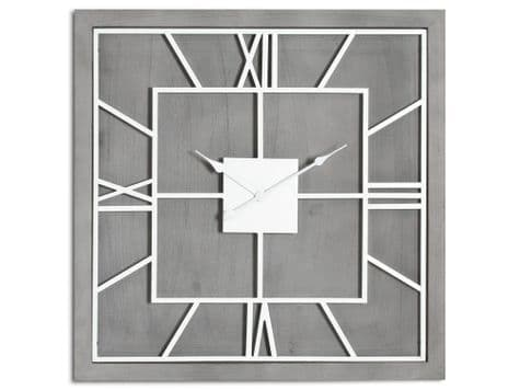 square grey and white wood clock   white clock on grey wood board   Willston