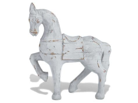 carousel horse ornament | white horse wood carving