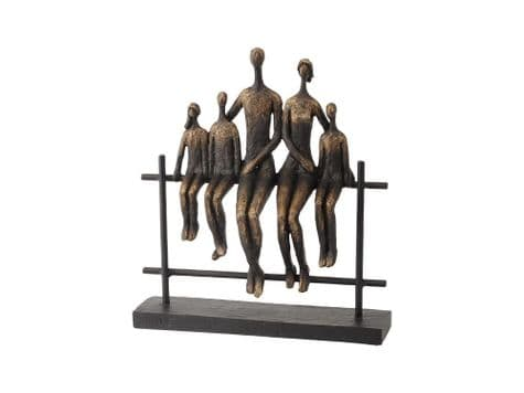 family fence bronze sculpture | sitting family ornament | Libra Duxford