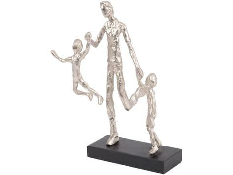 father and sons metal statue | dad and children playing sculpture | Libra