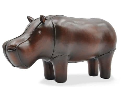 leather hippo figure | faux leather hippo ornament | Libra