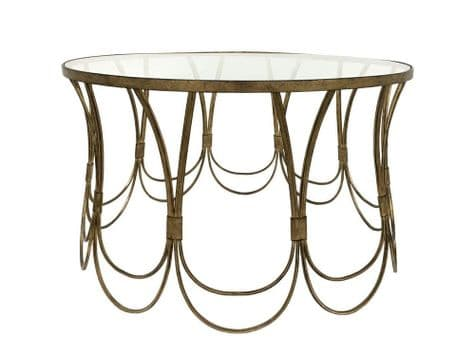 art deco gold loops coffee table | decorative scalloped low table | Libra Deco