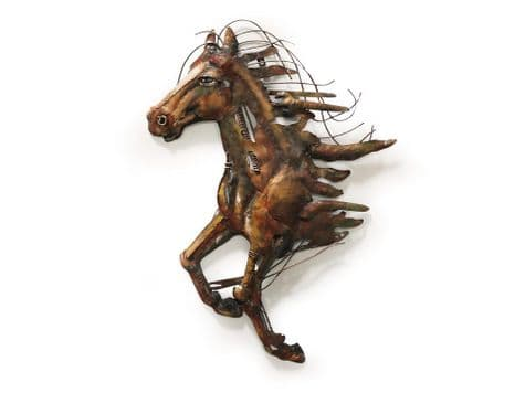 abstract metal horse art | running metal horse wall sculpture
