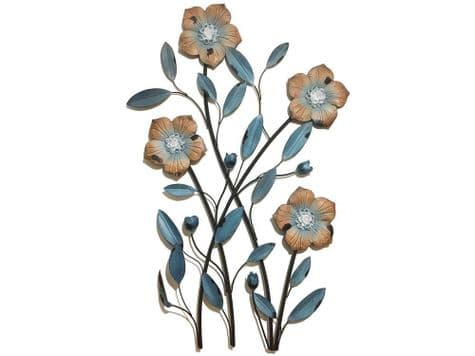 floral metal wall art | blue flowers metal wall hanging | Libra