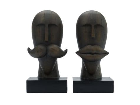 moustache and lips bookends | man and woman head book ends