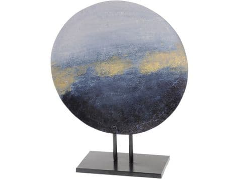 blue and gold disc sculpture | abstract iron sculpture