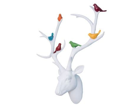 white stag head hanging | antlers wall hanging with coloured birds