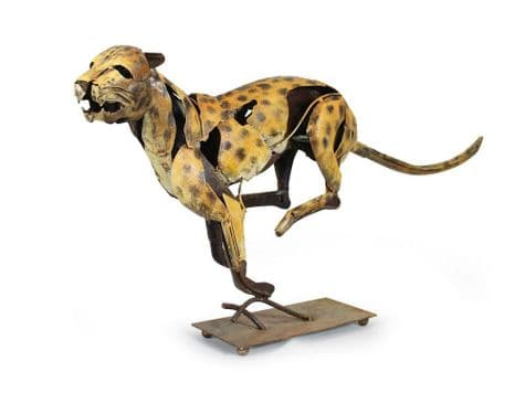 raw metal jaguar sculpture | distressed metal jaguar