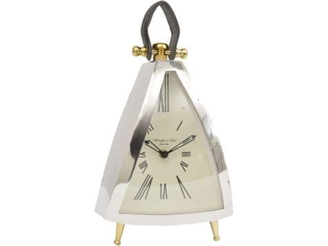 kettle shaped mantel clock | brass and silver clock | Libra