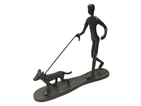dog on a lead figurine | walking the dog statue