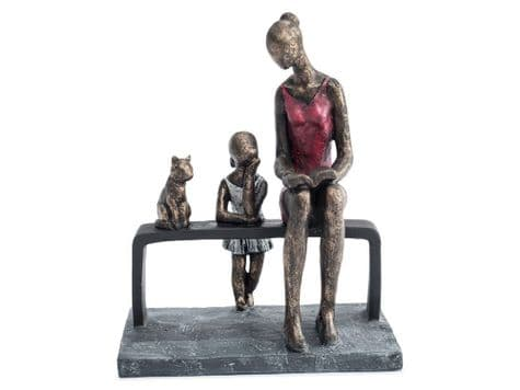 mother and daughter sculpture | mother, child and cat ornament