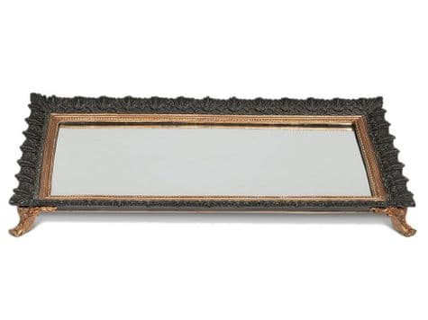 decorative mirrored tray on stand | ornate mirrored display stand