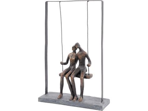 couple on swing sculpture | bronze swinging couple | Libra