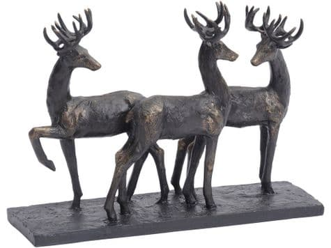 bronze stag sculpture | 3 stags ornament