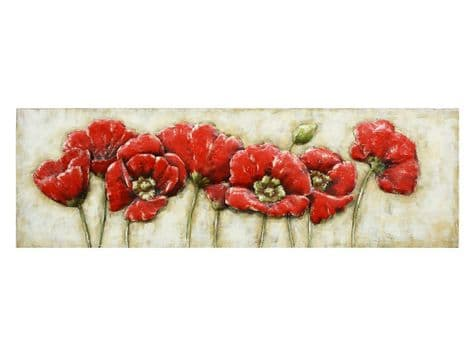 poppies metal wall art | red poppies wall relief | Libra