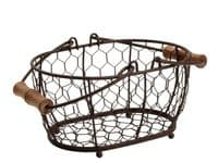 Provence Small Oval Basket in Rustic Brown Wireware