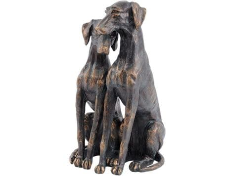 mother and puppy dogs sculpture | bronze dogs ornament | Libra